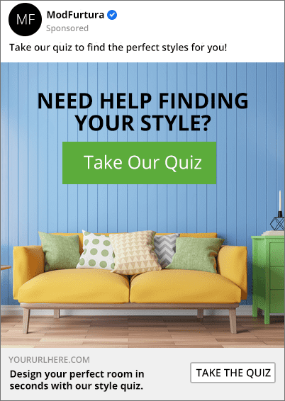 facebook ad for a furniture product recommendation quiz