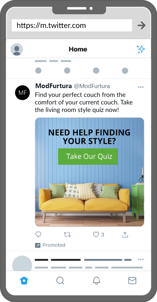 twitter ad for a furniture product recommendation quiz