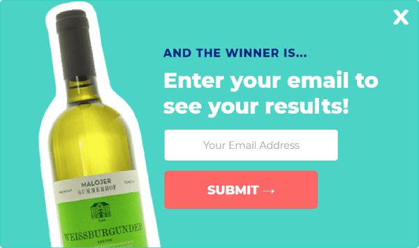 pop-up quiz with email capture form