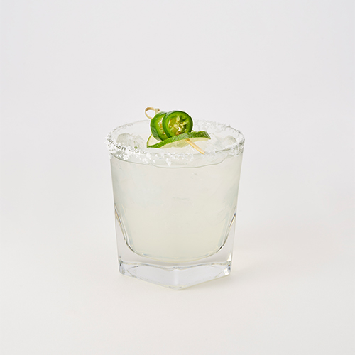 Riko's signature stinger pepper infused tequila, Triple Sec, simple syrup & fresh lime juice garnished with a lime slice and stinger pepper
