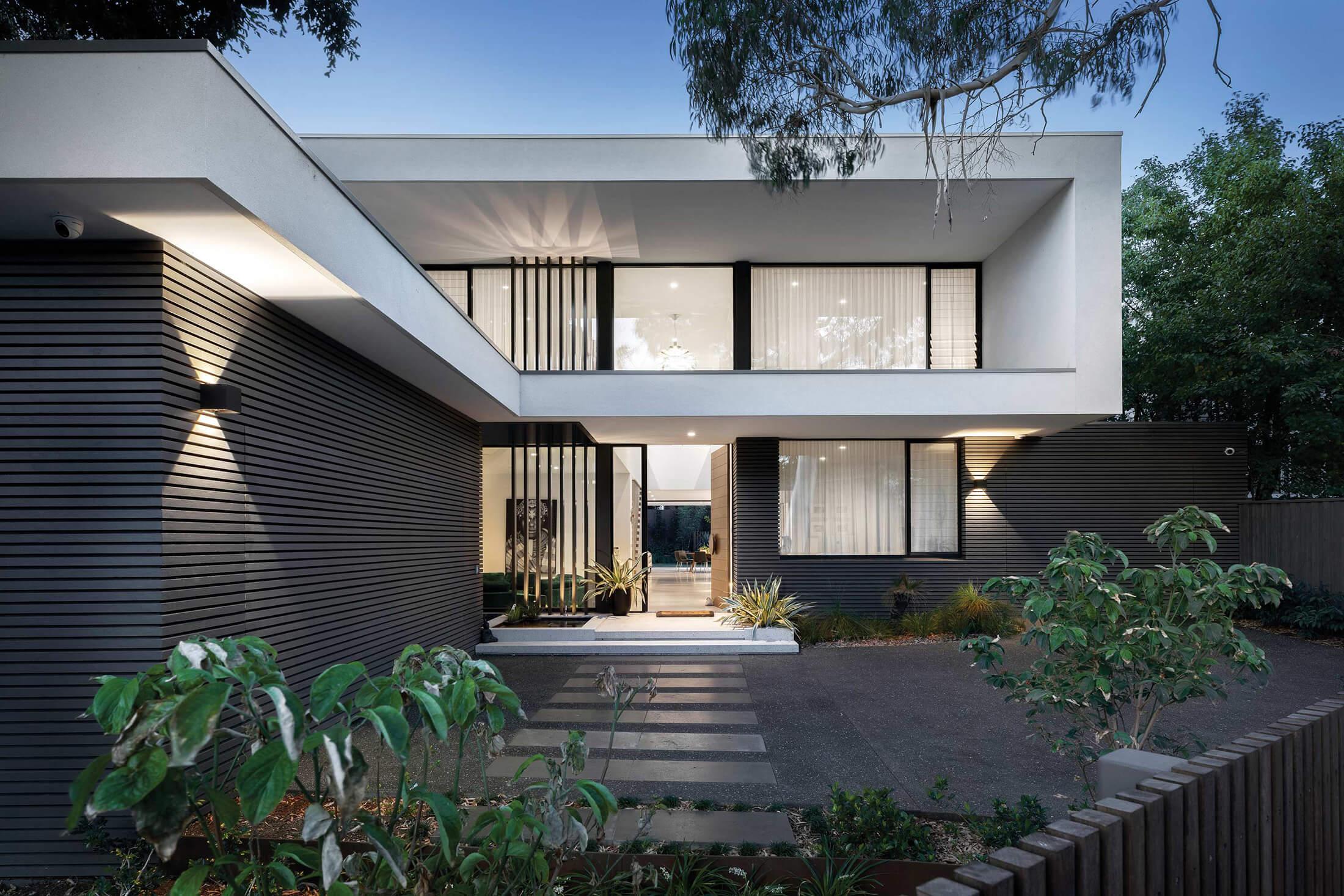 Facade of new modern home