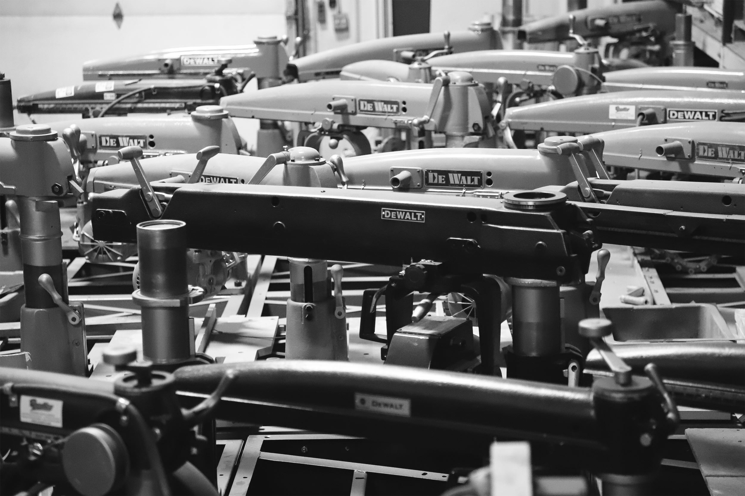 A bunch of Radial Arm Saws waiting for repair