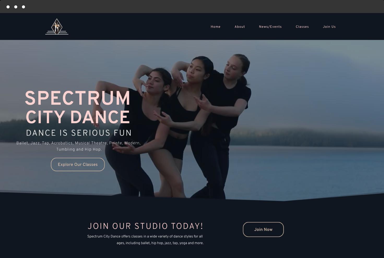 Image of Spectrum City Dance's Website