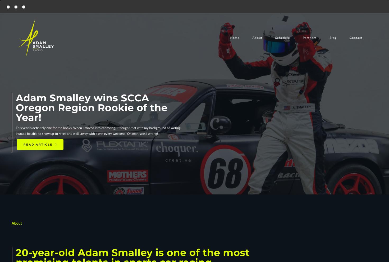 Image of Adam Smalley Racing's Website