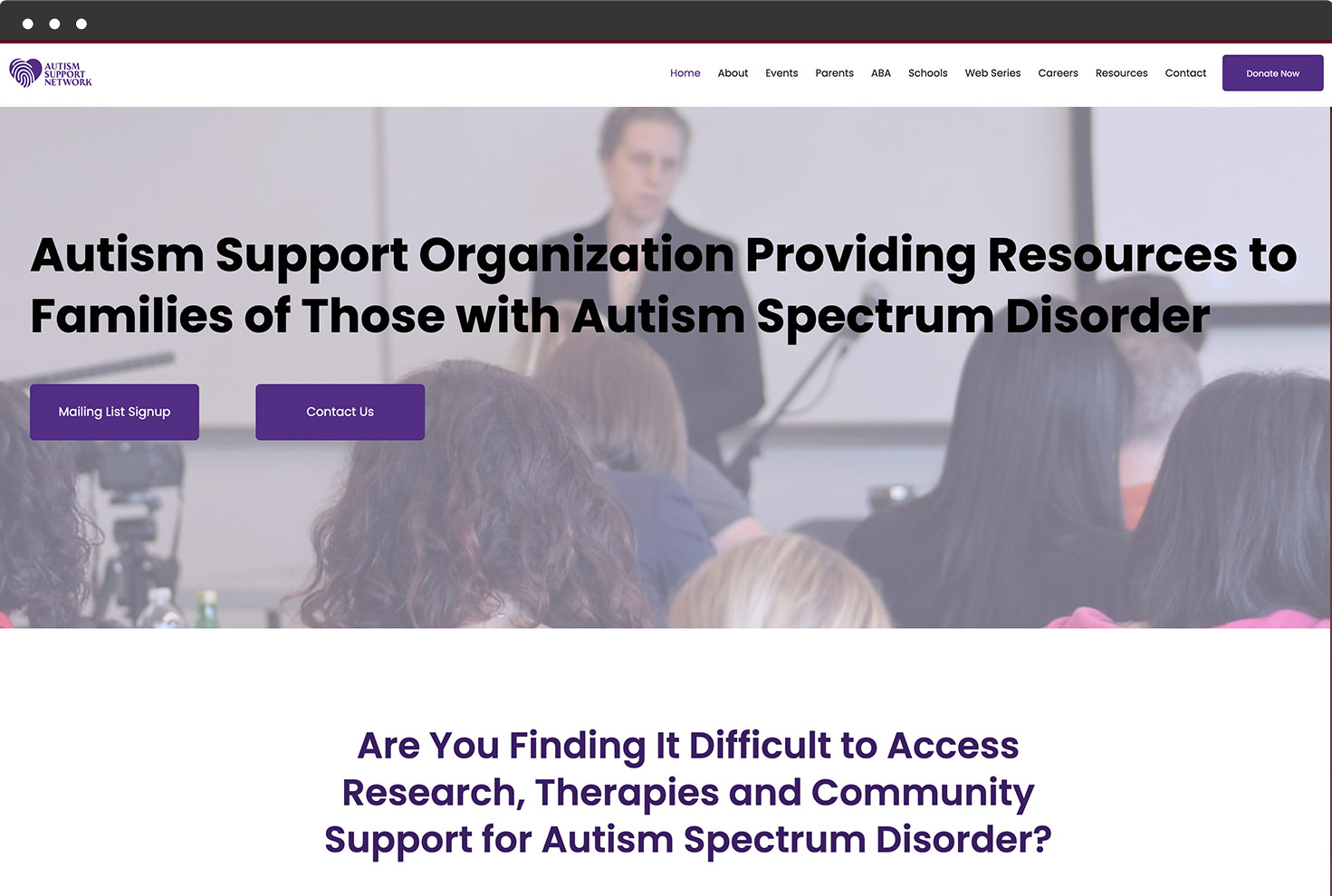Image of Autism Support Network's Website
