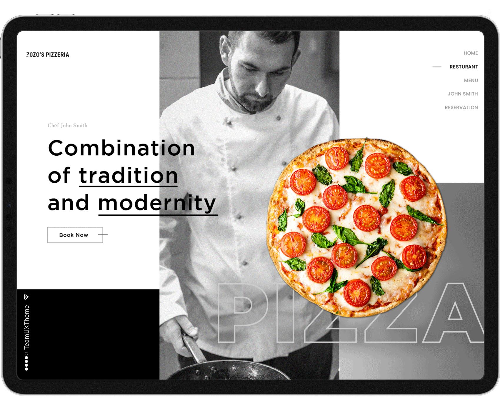 Pizza Restaurant Website On Ipad