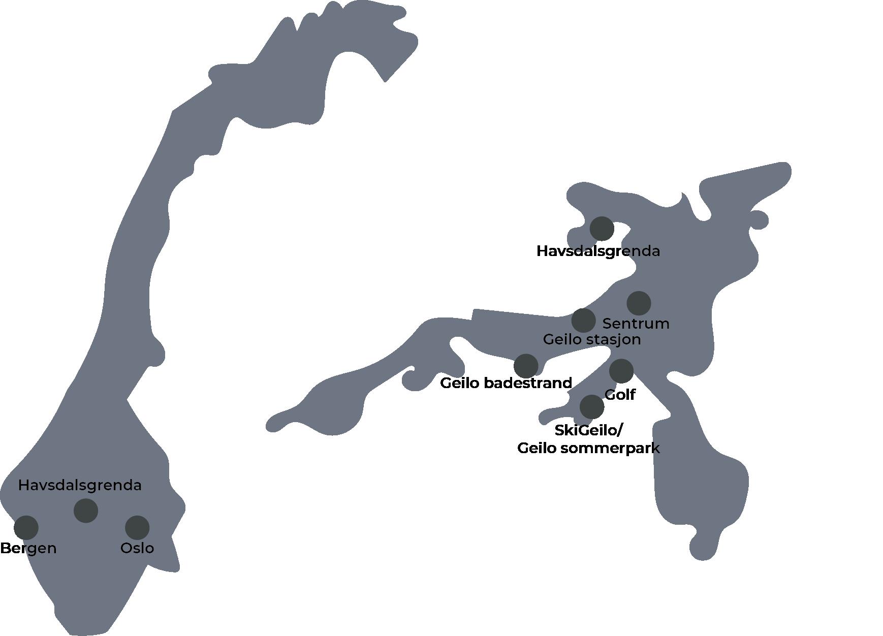 oversiktskart som viser Norge og Geilo