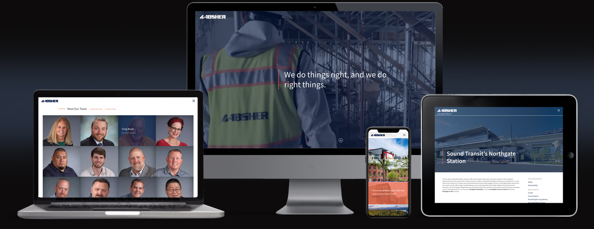 Absher construction website strategy marketing and design the people-first full-service construction firm mobile responsive website