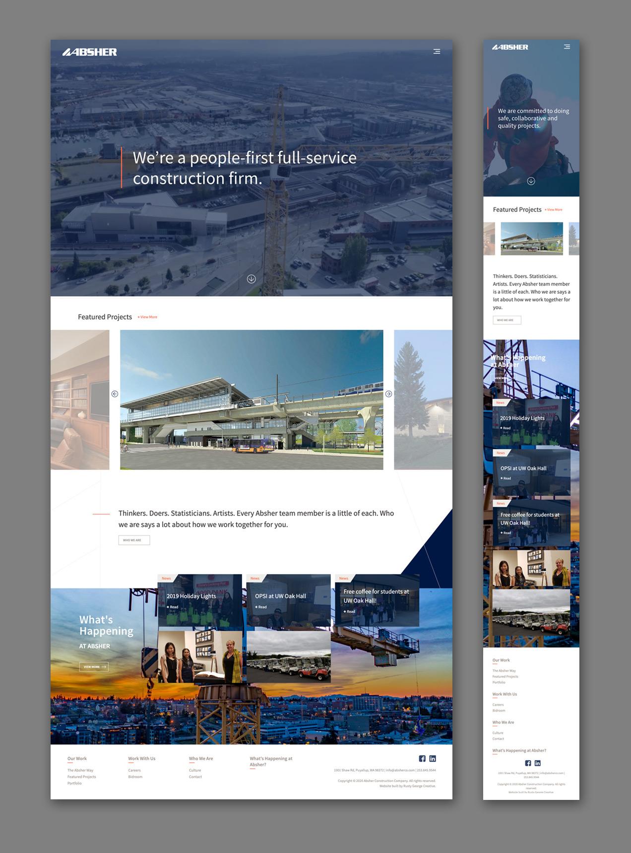 Absher construction homepage hero image website design responsive showcase