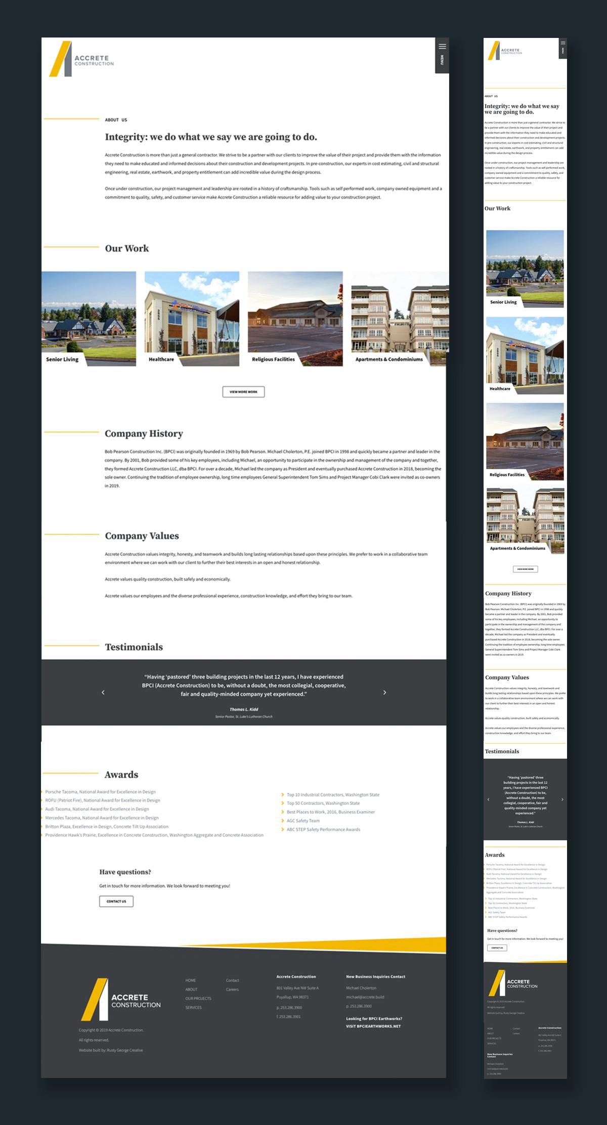accrete construction commercial construction services in Western Washington website design
