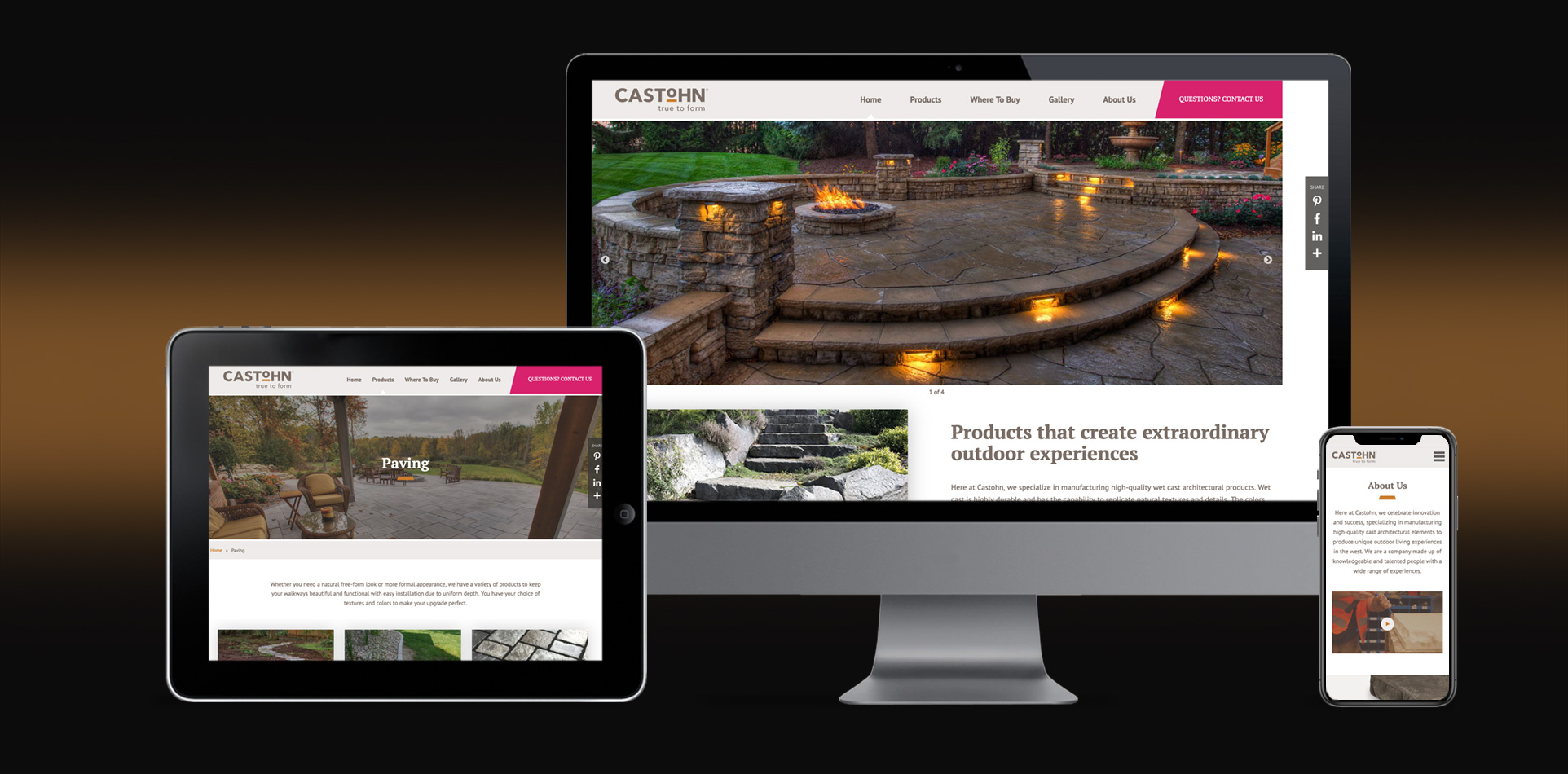 castohn manufacturing high-quality wet cast architectural products website branding and marketing design