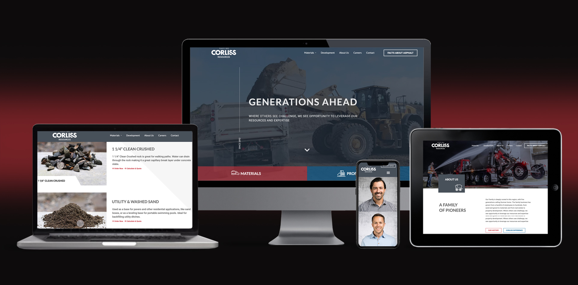 Corliss Co. supplier of concrete, building materials and innovative development projects website design and development