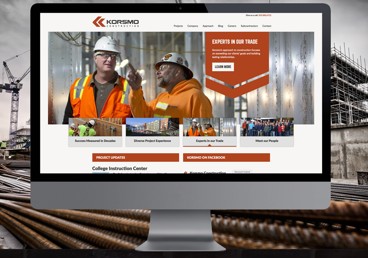 korsmo construction website landing page