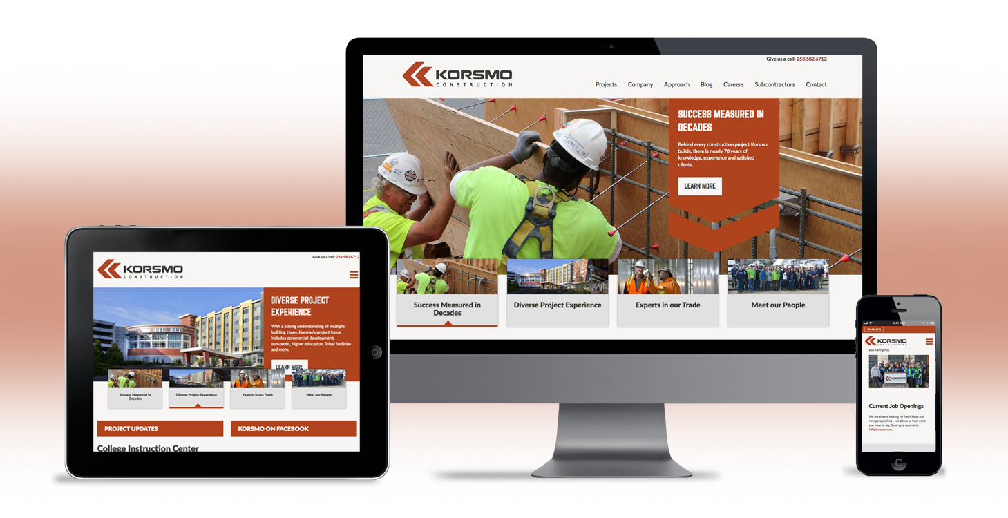 korsmo construction website design and development