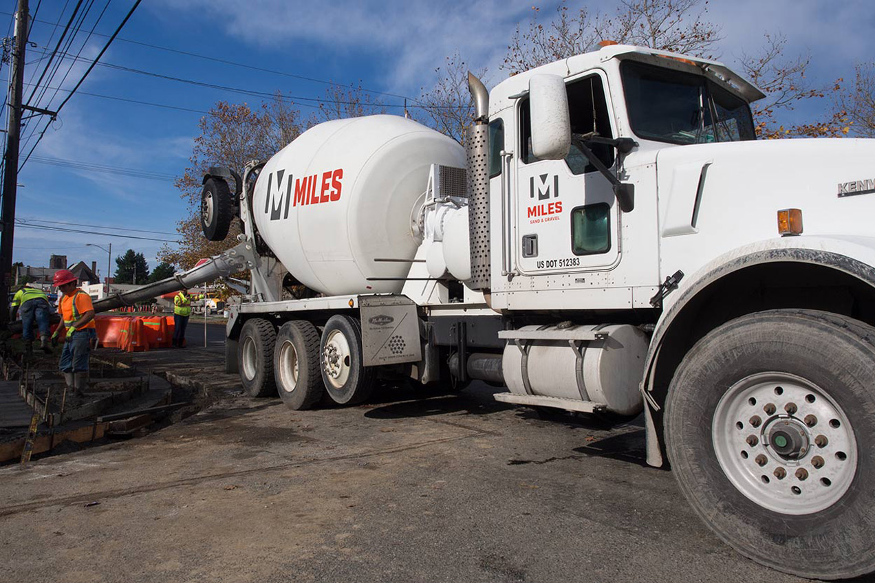 miles sand and gravel logo on truck