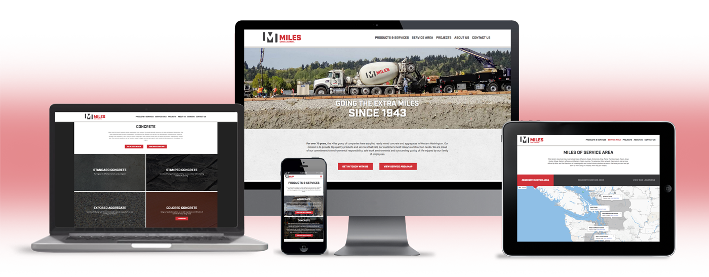 miles sand and gravel website design, strategy, content and development
