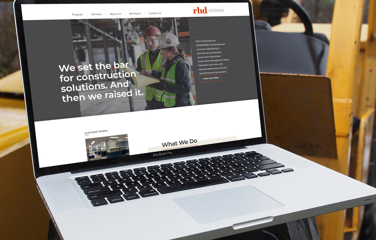 RHD website on a laptop