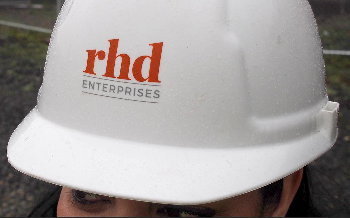 RHD logo on a constriction safety helmet