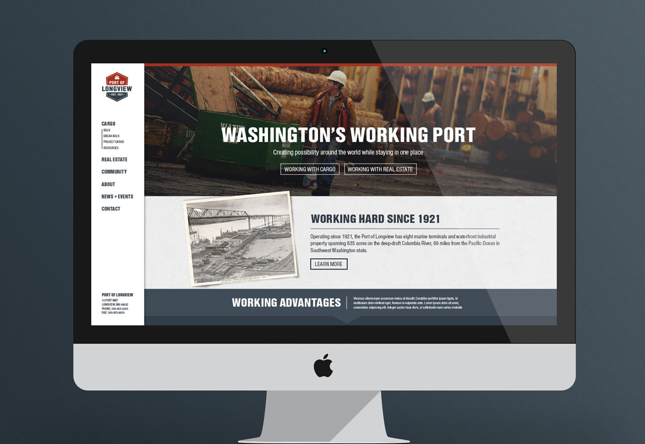 Port of longview website design and development focusing on the user journey and customer engagement