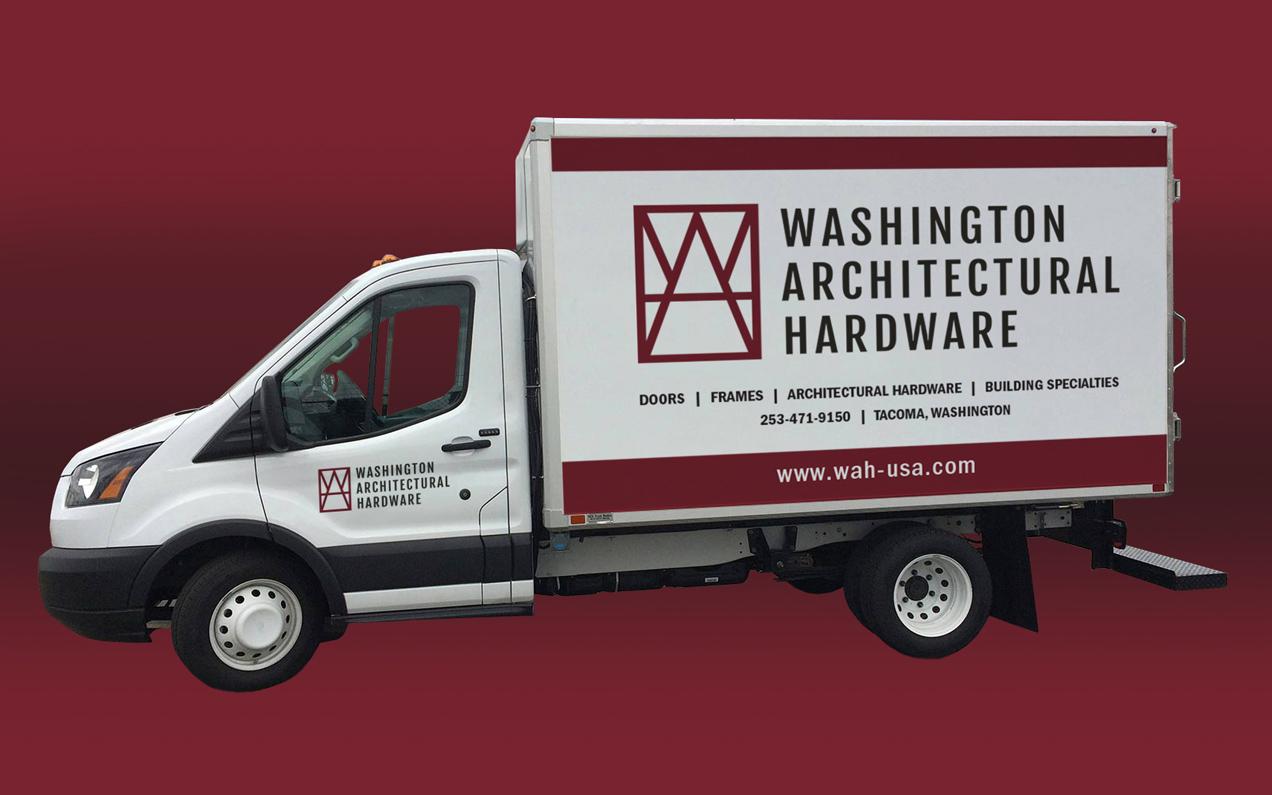 washington architectural hardware truck wrap design