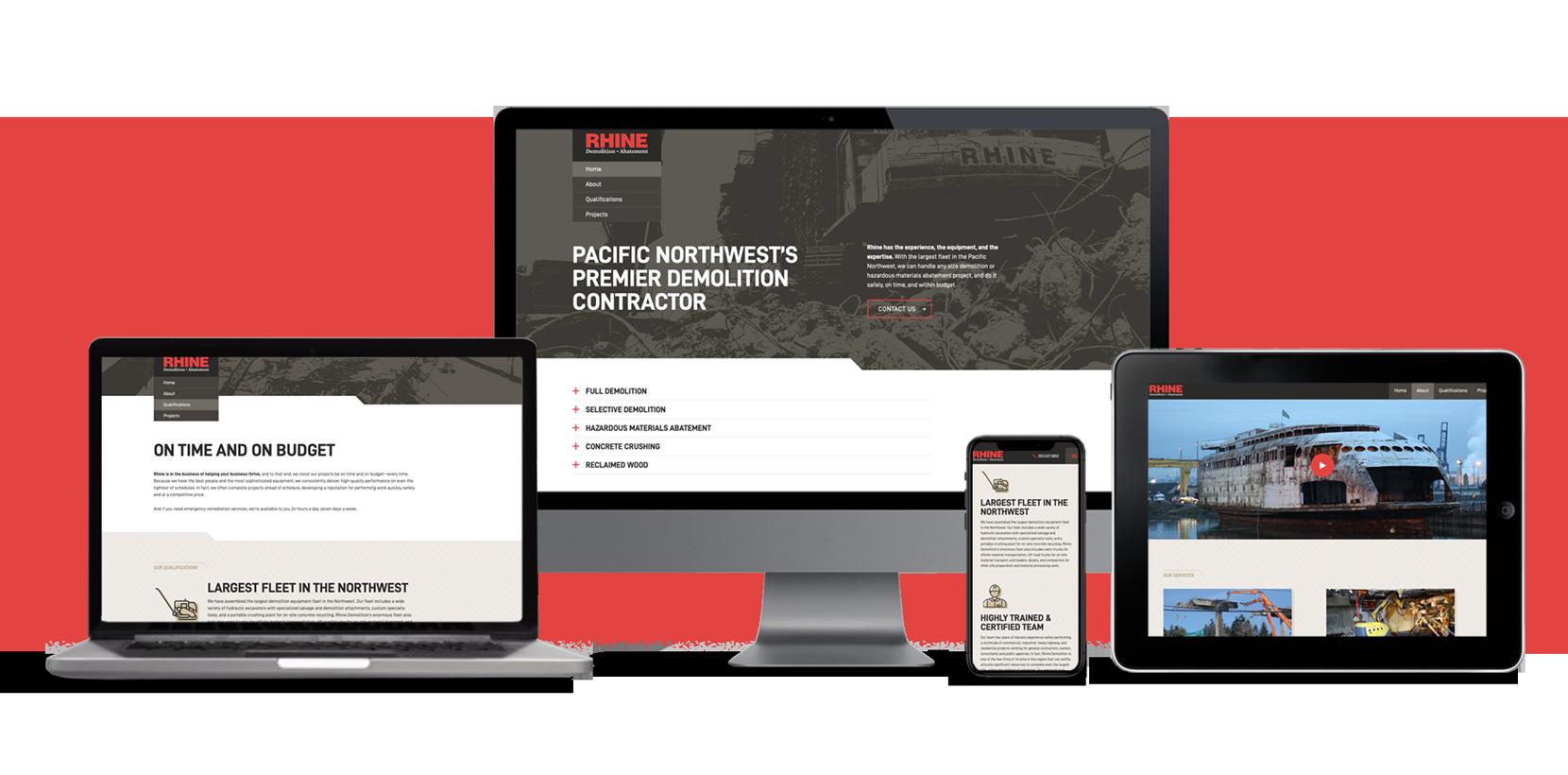 Rhine Demolition Mobile responsive website design by Rusty George Creative
