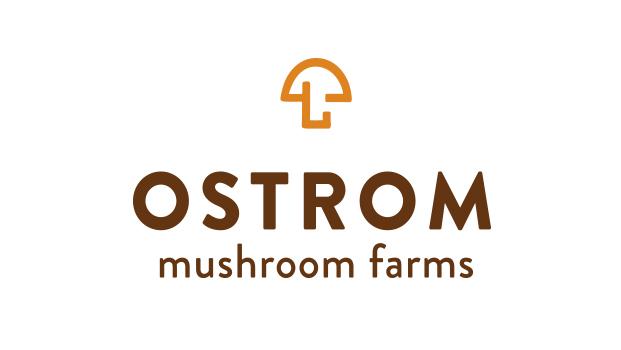 New Ostrom Mushroom Farms logo by Rusty George Creative
