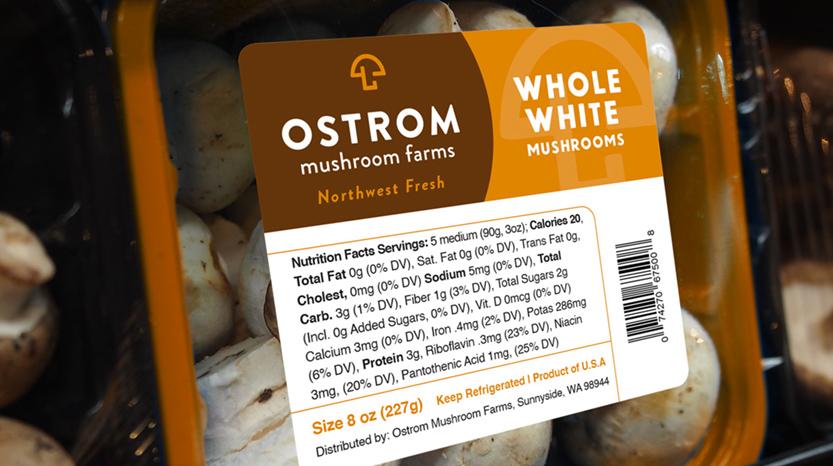 Ostrom Mushroom Farms Whole White mushroom label design