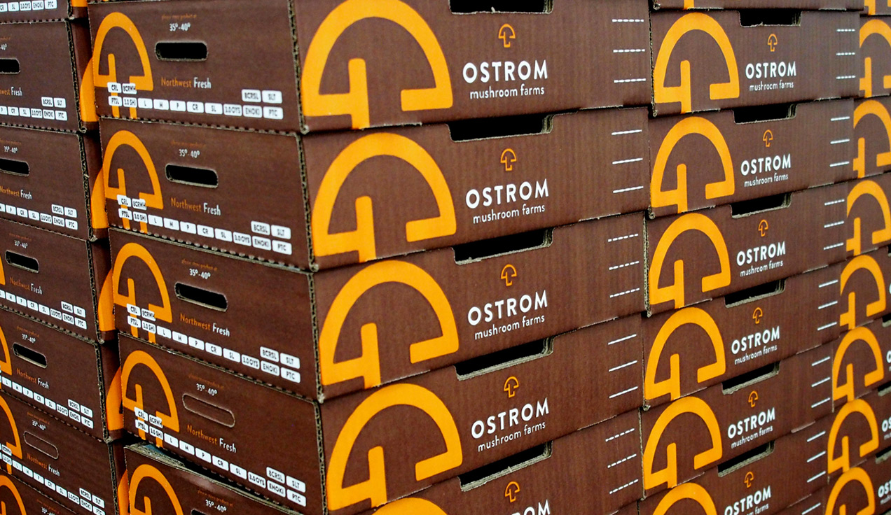 Ostrom Mushroom Farms box brown and orange design by Rusty George Creative