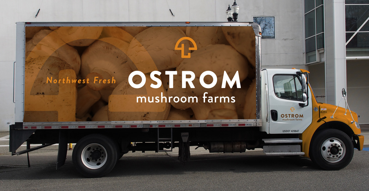 Ostroms Mushrooms truck wrap design by Rusty George Creative