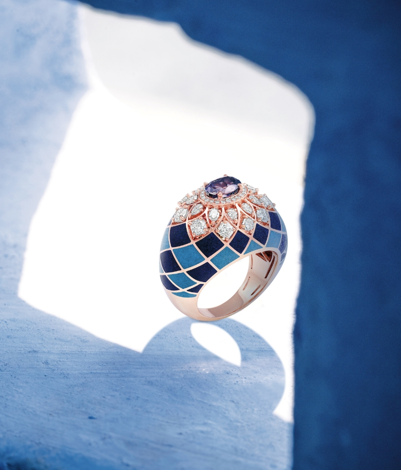 Her Story Heart of Blue ring in 18K rose gold, diamond, lapiz, turquoise and iolite