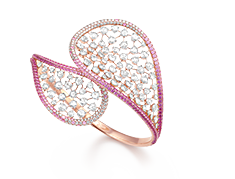 Her Story Laughter in the Rain 18K rose gold, diamond, pink-sapphire cuff