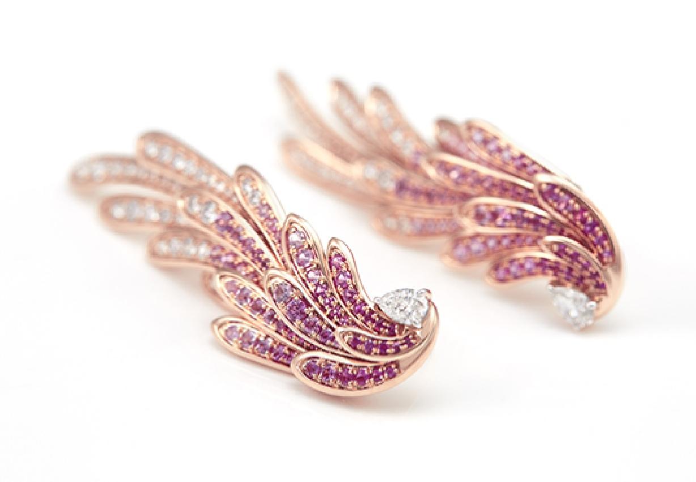 Her Story Spirit of the Wild earrings in 18K rose gold, diamond, pink sapphire