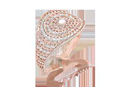 Her Story Keeper of Heartstrings 18K rose gold, diamond, rose-quartz bangle