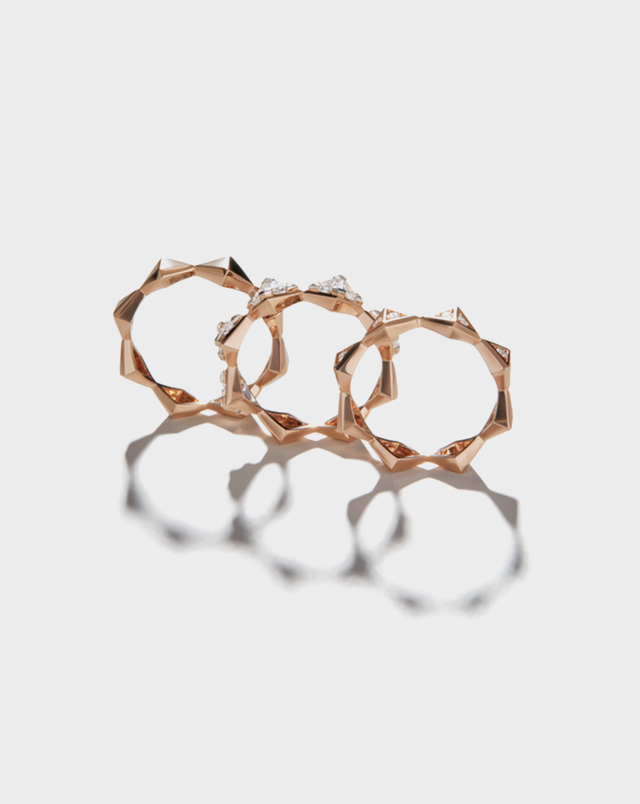 Her Story Limitless rings in 18K rose gold, diamond