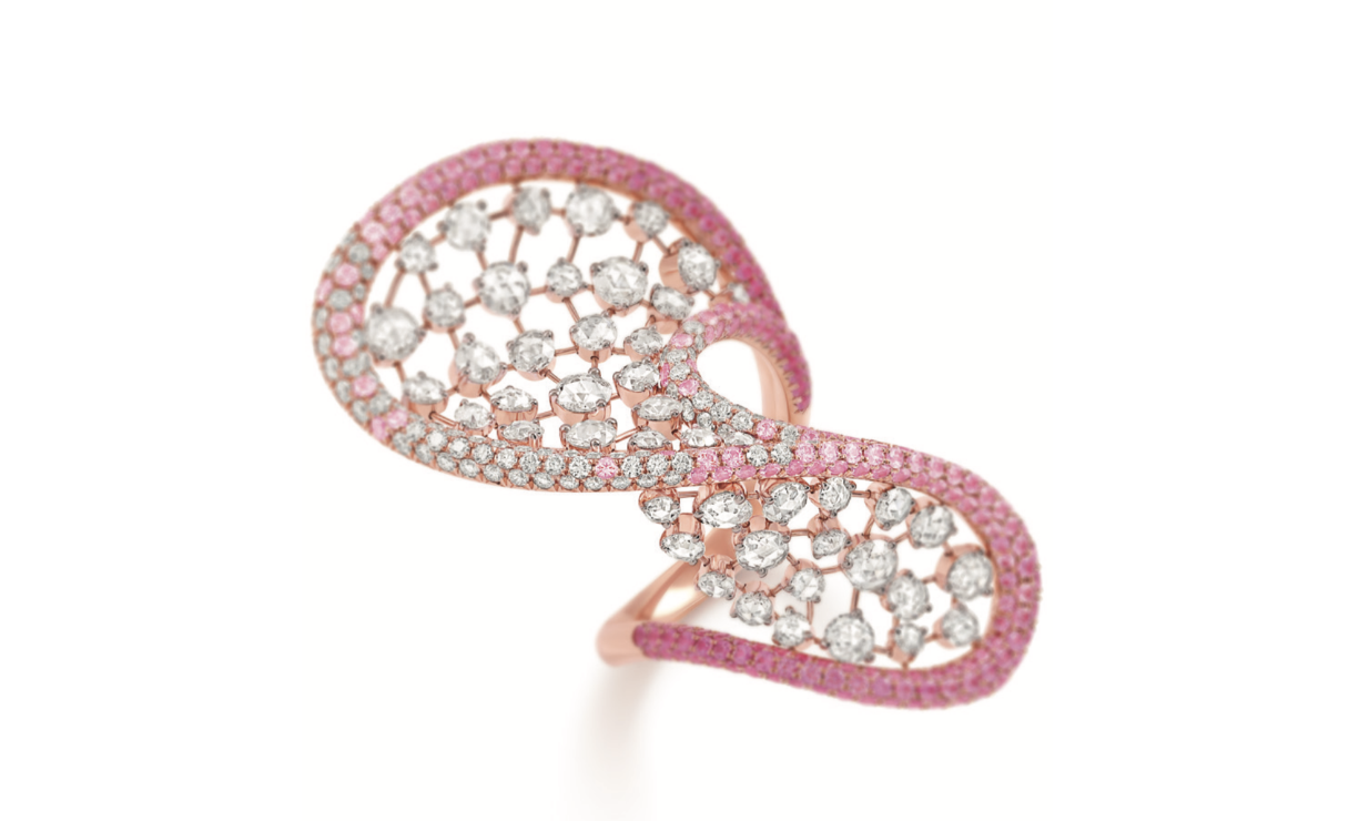 Her Story Laughter in the Rain ring in 18K rose gold, diamond, pink-sapphire