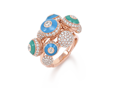 Her Story Poetry in Motion ring in 18K rose gold, diamond, enamel