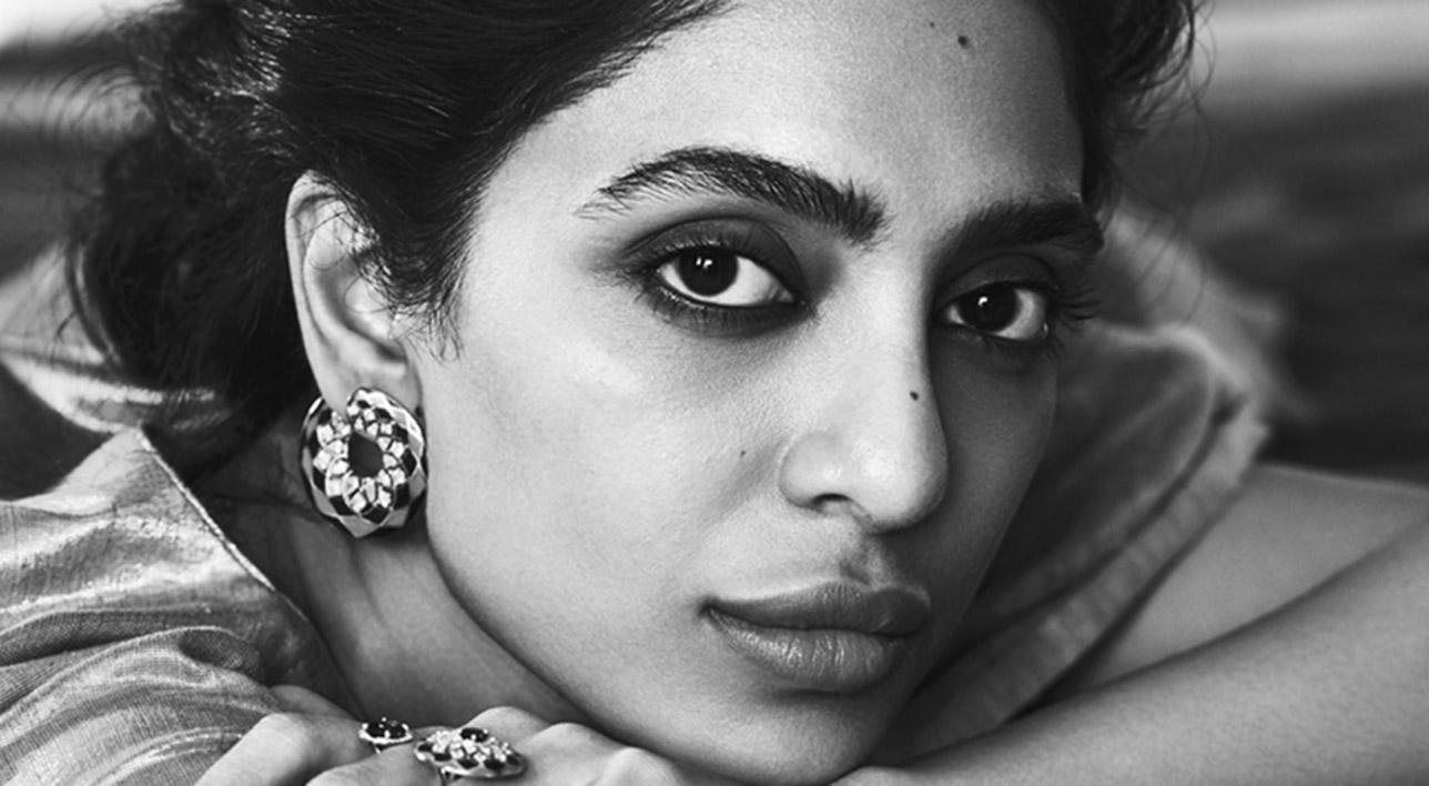 Sobhita Dhulipala wearing Her Story Heart of Blue jewellery