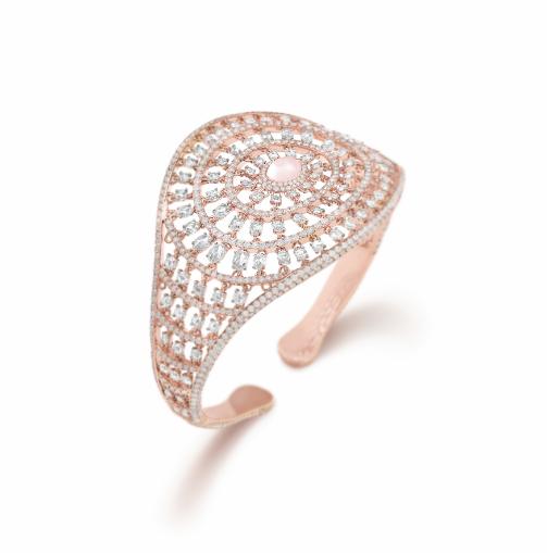 Her Story Keeper of Heartstrings bangle in 18K rose gold, diamond, rose-quartz