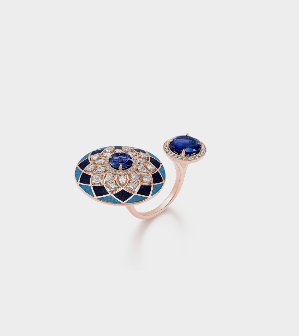 Her Story Heart of Blue two finger ring in 18K rose gold, diamond, lapiz, turquoise and iolite