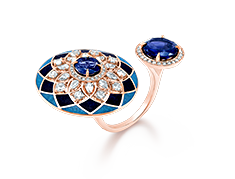 Her Story Heart of Blue 18K rose gold, diamond, lapiz, turquoise and iolite two finger-ring