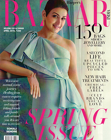 Sonali Bendre wearing Her Story jewellery for Harper's Bazaar India Cover April 19