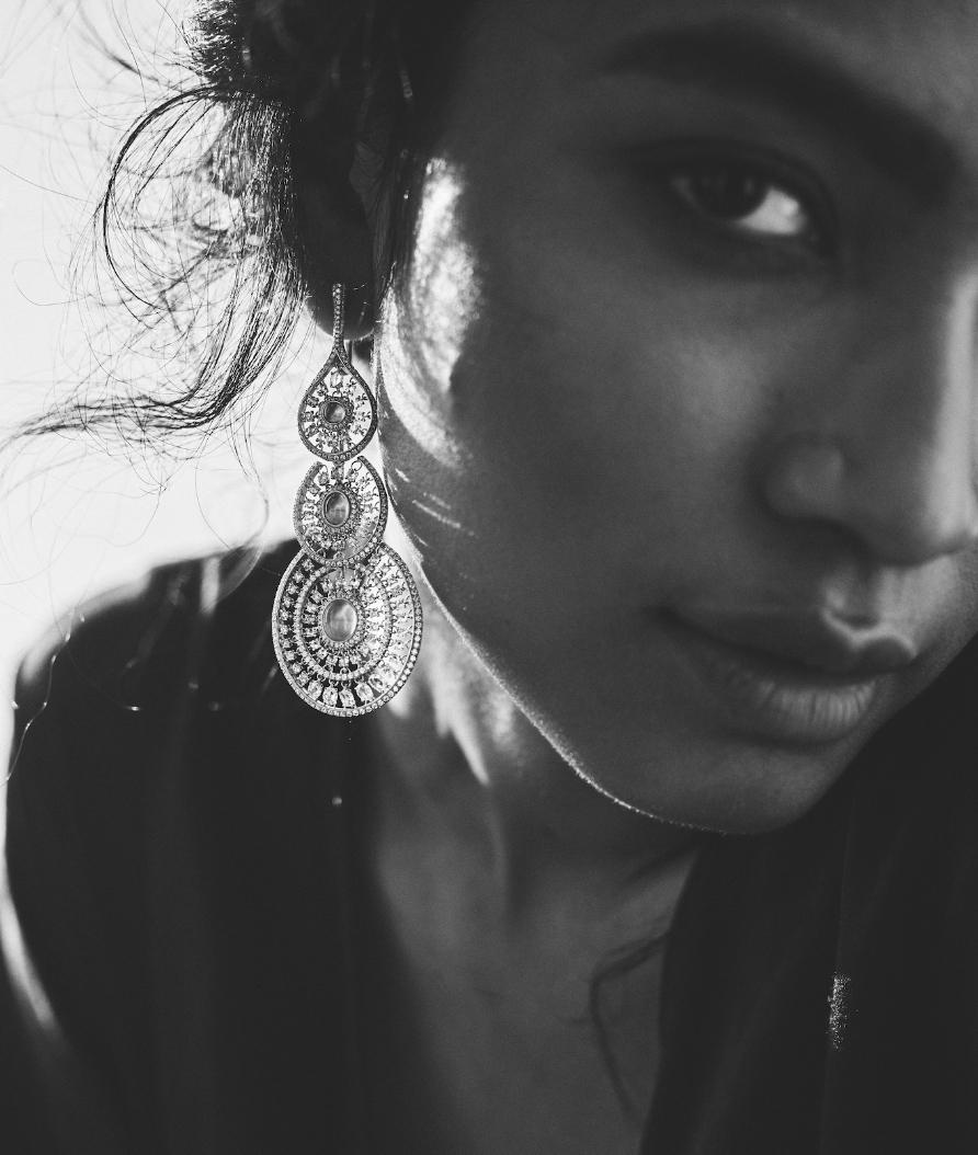 Her Story Keeper of Heartstrings earrings in 18K rose gold, diamond, rose-quartz