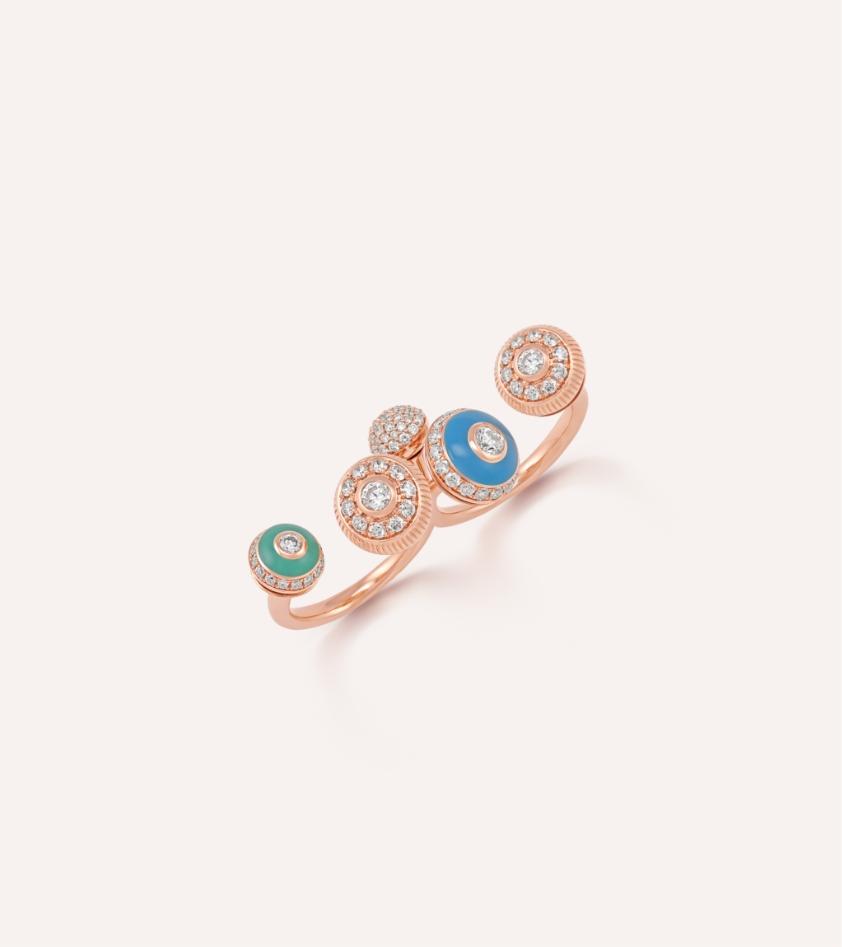 Her Story Poetry in Motion two finger ring in 18K rose gold, diamond, enamel