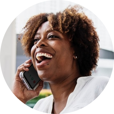Woman talking on the phone smiling