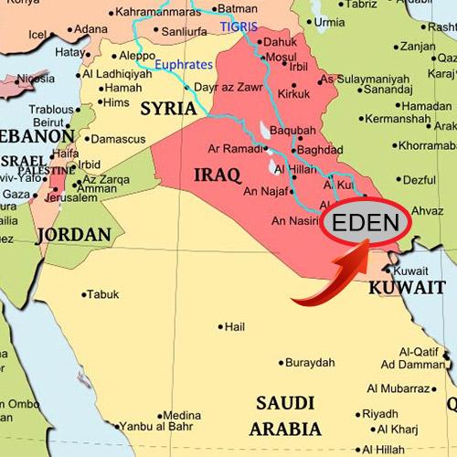 Map showing location of Garden of Eden