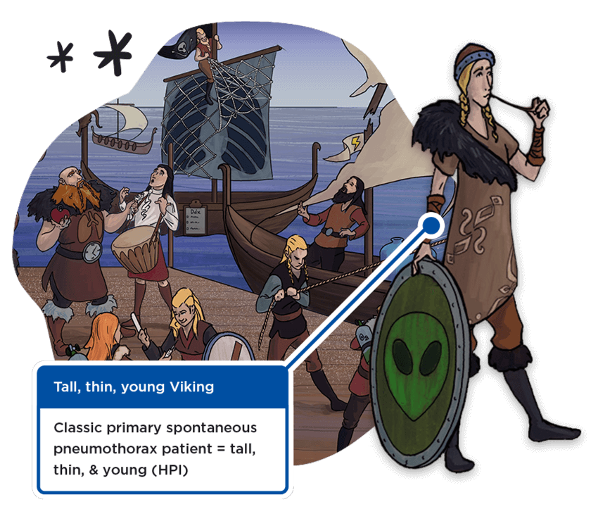 Sketchy drawing of a viking-themed scene featuring a tall, thin, young viking symbolizing a typical pneumothorax patient