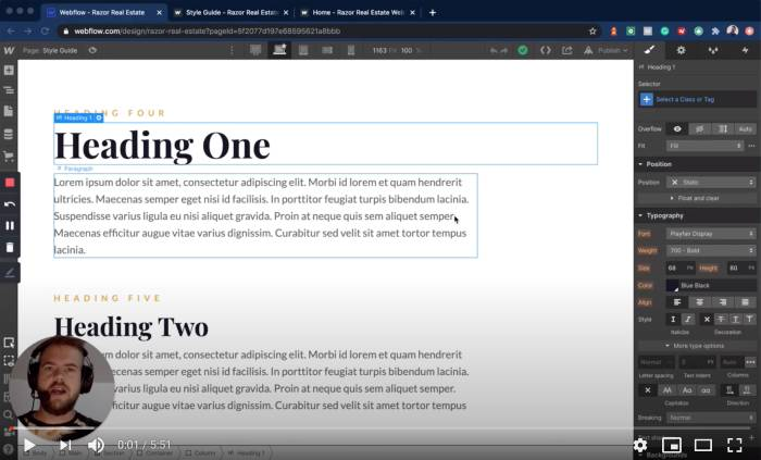 Editing global heading, text and color styles
