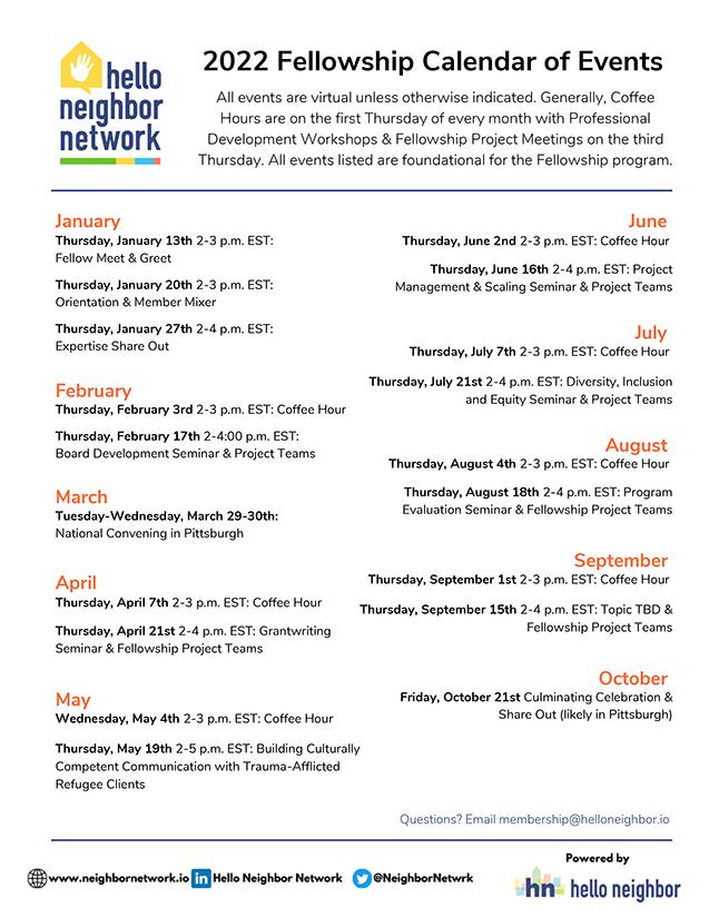 2022 Fellowship Calendar of Events