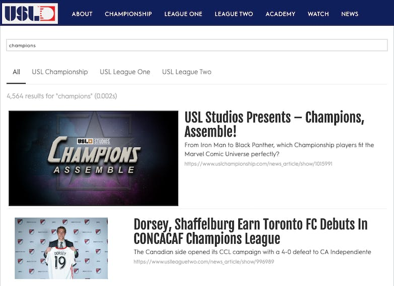United Soccer League search case study