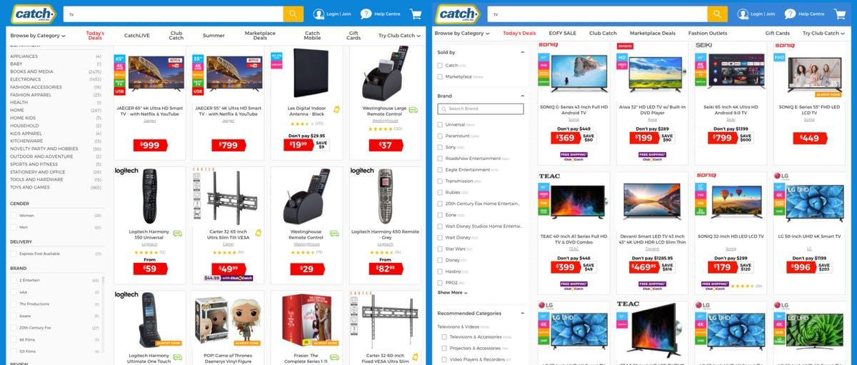 Catch.com.au search pages